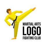 Logo template for martial arts club or gym. Karate or kickboxing fighter training. Athlete in kimono with black belt training. Simple vector illustration Royalty Free Stock Photography