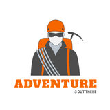 Logo Template mit Bergsteiger stock abbildung