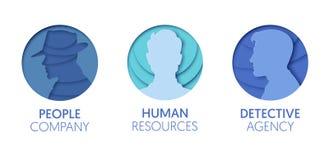 Logo Template Set cortado papel com povos Símbolos humanos da cabeça do homem do origâmi para marcar, folheto, identidade ilustração stock