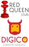 Logo template set, vector, red queen, flatstyle cow head. Logo template, a stylized cow head, bull head, digicow, crazy cow, crazy bull, digital cow, vector Stock Image