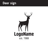 Logo template silhouette of a young deer, suitable for hunting Stock Image