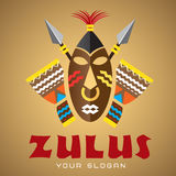 Logo template, vector, african mask with spears and drums Royalty Free Stock Image