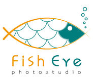 Logo template, vector, fish eye, photostudio logotype stock illustration