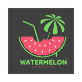 Logo template with watermelon, beach umbrella and cocktail straw Royalty Free Stock Image