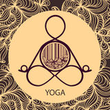 Logo template of yoga pose. Logo template of yoga meditation pose and with abstract floral frame Stock Photography