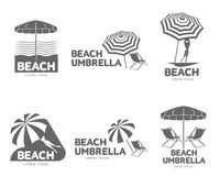 Logo templates with beach umbrella and sun bathing lounge chairs. Vector illustration isolated on white background. Black and white graphic logotypes, logo Stock Photos