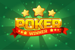 Logo text POKER and gold star, For Ui Game element stock illustration