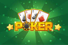 Logo text POKER and Playing cards, For Ui Game element vector illustration