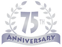 Seventy-Fifth Anniversary Banner/eps. Logo for a 75th anniversary of a marriage, business or organization...eps file available Stock Photo