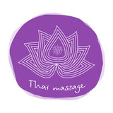Logo thai massage. Stylized lotus flower. Authentic Thai massage. Royalty Free Stock Images