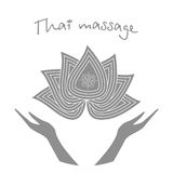 Logo thai massage. Stylized lotus flower and hands. Authentic Thai massage. Stock Photo