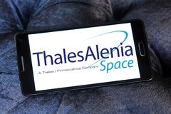 Thales Alenia Space logo. Logo of Thales Alenia Space company on samsung mobile. Thales Alenia Space is a Franco-Italian aerospace manufacturer. The company is Royalty Free Stock Photos