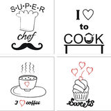 Logo on the theme of cooking and food with inscriptions Stock Photography