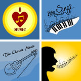 Logo on the theme of music and musical instruments. Four of the logo on the theme of music and musical instruments Royalty Free Stock Photography