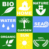 Logo on the theme of nature. The icons and logo on the theme of nature, the surrounding world Vector Illustration