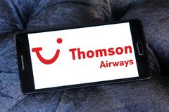 Thomson Airways logo. Logo of Thomson Airways on samsung mobile. Thomson, is the world`s largest charter airline Royalty Free Stock Images