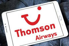 Thomson Airways logo. Logo of Thomson Airways on samsung tablet . Thomson, is the world`s largest charter airline Stock Image
