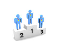 Logo Three people on podium. Over white background with gold medals Stock Photography