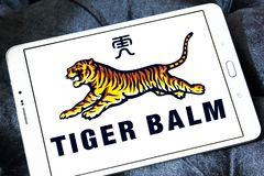 Tiger Balm brand logo. Logo of Tiger Balm brand on samsung tablet. Tiger Balm is the trademark for a heat rub manufactured and distributed by Haw Par Healthcare Stock Image