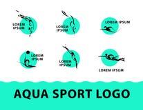 Logo tiré par la main de croquis de sport d'aqua de vecteur Photos stock