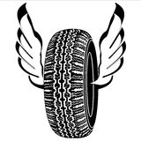 Logo tire with wings for road transport stock photos