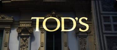 Logo Tod-` s Mailand in der Galerie Emanuele II Italien Lizenzfreie Stockfotografie