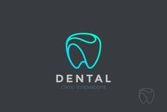 Logo Tooth för tand- klinik abstrakt linjär tandläkare vektor illustrationer