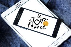Tour de France bicycle race logo. Logo of Tour de France on samsung mobile. Tour de France is an annual male multiple stage bicycle race primarily held in France Royalty Free Stock Photos