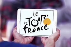 Tour de France bicycle race logo. Logo of Tour de France on samsung tablet. Tour de France is an annual male multiple stage bicycle race primarily held in France Royalty Free Stock Image