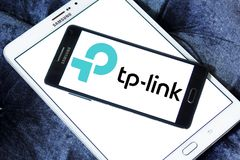 TP-Link company logo. Logo of TP-Link company on samsung mobile. TP-Link is a Chinese manufacturer of computer networking products Royalty Free Stock Image