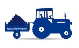 Logo tractor agricultural company. Farm land work Stock Photos