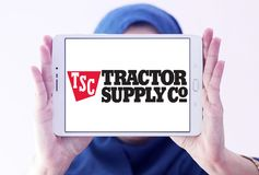 Tractor Supply Company, TSC, logo. Logo of Tractor Supply Company on samsung tablet holded by arab muslim woman. Tractor Supply Company TSCO is an American royalty free stock image
