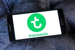 Transavia Airlines logo. Logo of Transavia Airlines on samsung mobile. Transavia Airlines is a Dutch low-cost airline and a wholly owned subsidiary of KLM Stock Photo