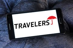 The Travelers Companies logo. Logo of The Travelers Companies on samsung mobile. The Travelers Companies, Inc. is an American insurance company stock photo