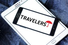 The Travelers Companies logo. Logo of The Travelers Companies on samsung mobile. The Travelers Companies, Inc. is an American insurance company royalty free stock photography
