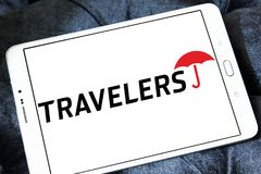 The Travelers Companies logo. Logo of The Travelers Companies on samsung tablet. The Travelers Companies, Inc. is an American insurance company Royalty Free Stock Image