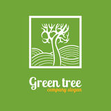 Logo with a tree. On a green background Royalty Free Stock Photos