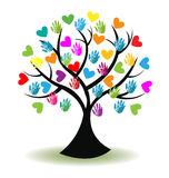 Logo tree hands and hearts Royalty Free Stock Photos