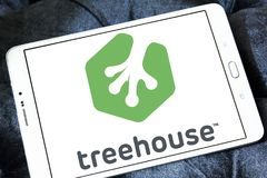 Treehouse company logo. Logo of Treehouse company on samsung tablet. Treehouse is an online technology school that offers beginner to advanced courses in web royalty free stock image