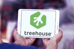 Treehouse company logo. Logo of Treehouse company on samsung tablet. Treehouse is an online technology school that offers beginner to advanced courses in web royalty free stock photos