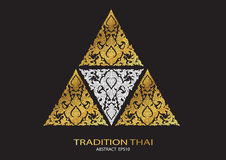Logo triangle shape abstract line thai tradition pattern backgro Stock Photo