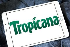 Tropicana logo. Logo of Tropicana juice company on samsung tablet . Tropicana Products, Inc. is an American multinational company which primarily makes fruit Stock Photo
