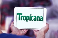 Tropicana logo. Logo of Tropicana juice company on samsung tablet . Tropicana Products, Inc. is an American multinational company which primarily makes fruit Stock Image