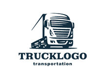 Logo truck and trailer. Stock Photo