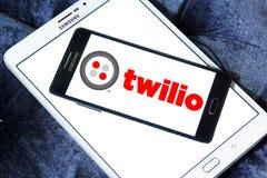 Twilio communications company. Logo of Twilio company on samsung mobile. Twilio is a cloud communications platform as a service PaaS company. Twilio allows Royalty Free Stock Image