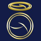 Logo Two Circle Gold simple y 3D stock de ilustración