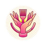 Logo of two hands, in line art style. Sign of two hands with tools, in line art style Stock Photo