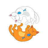 Logo with two red and white cats forming circle Royalty Free Stock Photography