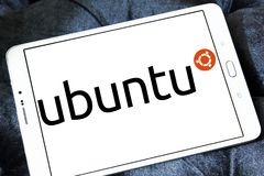Ubuntu operating system logo. Logo of Ubuntu operating system on samsung tablet. ubuntu is an open source operating system for computers. It is a Linux Stock Image