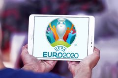 UEFA Euro 2020 logo. Logo of UEFA Euro 2020 on samsung tablet. The 2020 UEFA European Football Championship is scheduled to be the 16th edition of the UEFA Royalty Free Stock Photography